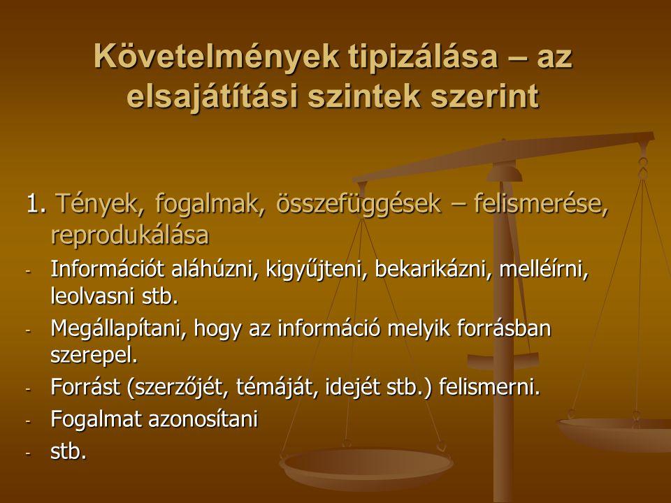 Követelmények tipizálása – az elsajátítási szintek szerint 1. Tények, fogalmak, összefüggések – felismerése, reprodukálása - Információt aláhúzni, kig