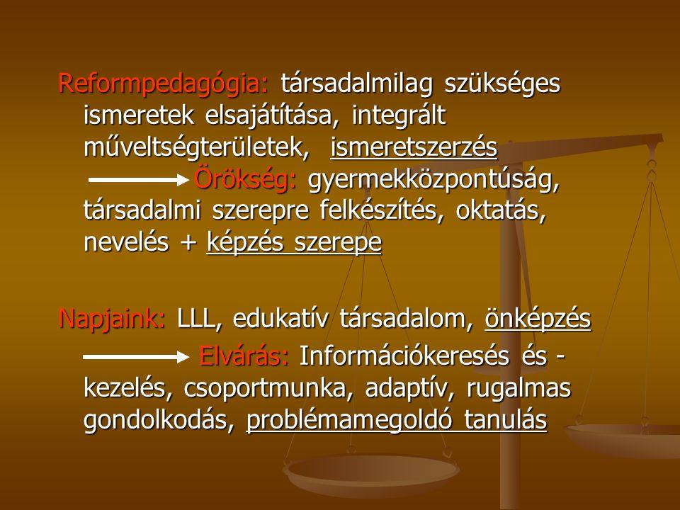 Reformpedagógia: társadalmilag szükséges ismeretek elsajátítása, integrált műveltségterületek, ismeretszerzés Örökség: gyermekközpontúság, társadalmi