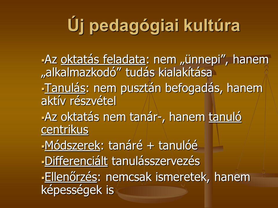 """Új pedagógiai kultúra Új pedagógiai kultúra  Az oktatás feladata: nem """"ünnepi"""", hanem """"alkalmazkodó"""" tudás kialakítása  Tanulás: nem pusztán befogad"""