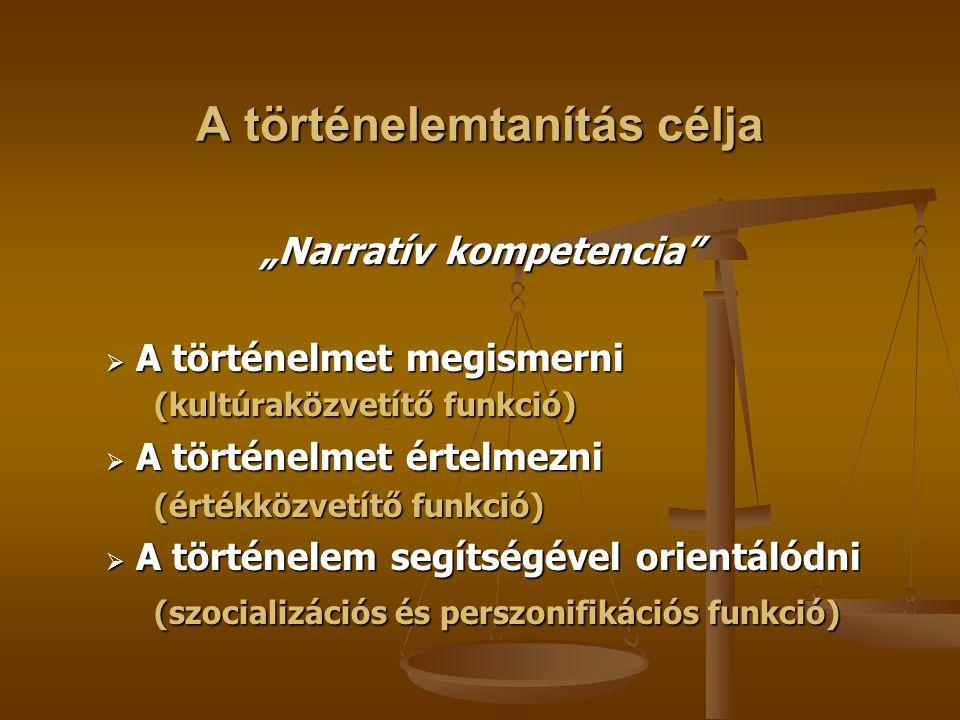A történelemtanítás feladata IsmeretközvetítésIsmeretekTényekFogalmakÖsszefüggésekÁltalánosTörténelmiműveltség Intellektuális kompetenciák, képességek kialakítása Önállóság Kritikai készség Vitakészség Beleérző/átérző képesség Kreativitás Problémamegoldás Érték/normaközvetítés Pozitív életszemlélet Nemzeti identitás Európaiság Demokrácia Humanizmus Az élet, a környezet védelme Nyitottság Tolerancia Társadalmi közéleti tevékenység Szociális felelősség Gondolkodásfejlesztés