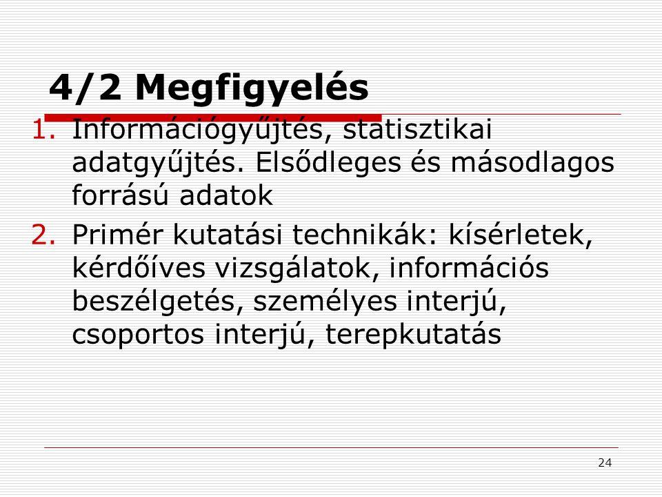 24 4/2 Megfigyelés 1.Információgyűjtés, statisztikai adatgyűjtés. Elsődleges és másodlagos forrású adatok 2.Primér kutatási technikák: kísérletek, kér