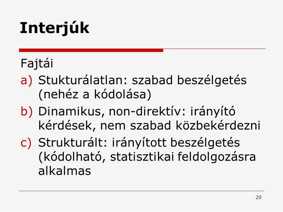 29 Interjúk Fajtái a)Stukturálatlan: szabad beszélgetés (nehéz a kódolása) b)Dinamikus, non-direktív: irányító kérdések, nem szabad közbekérdezni c)St