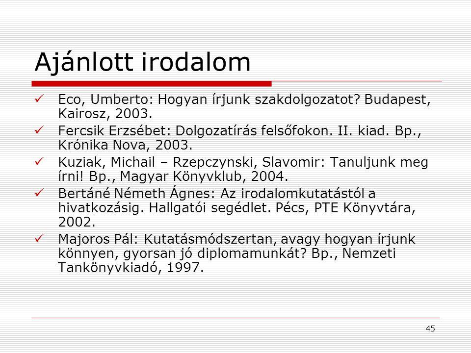 45 Ajánlott irodalom Eco, Umberto: Hogyan írjunk szakdolgozatot? Budapest, Kairosz, 2003. Fercsik Erzsébet: Dolgozatírás felsőfokon. II. kiad. Bp., Kr