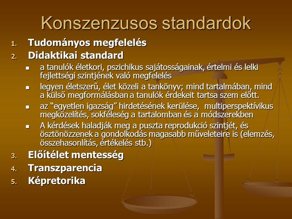 Konszenzusos standardok 1. Tudományos megfelelés 2. Didaktikai standard a tanulók életkori, pszichikus sajátosságainak, értelmi és lelki fejlettségi s