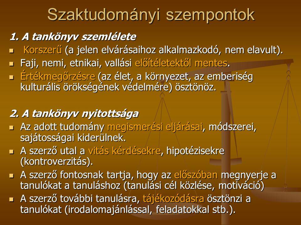 Szaktudományi szempontok 1.