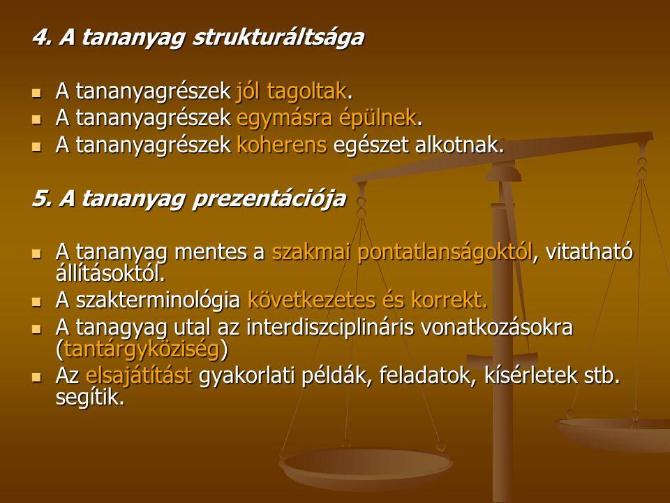4. A tananyag strukturáltsága A tananyagrészek jól tagoltak.