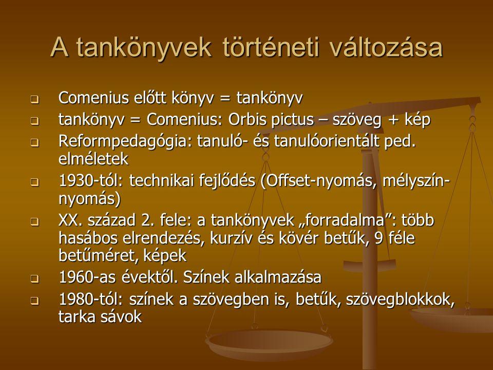 A tankönyvek történeti változása  Comenius előtt könyv = tankönyv  tankönyv = Comenius: Orbis pictus – szöveg + kép  Reformpedagógia: tanuló- és ta