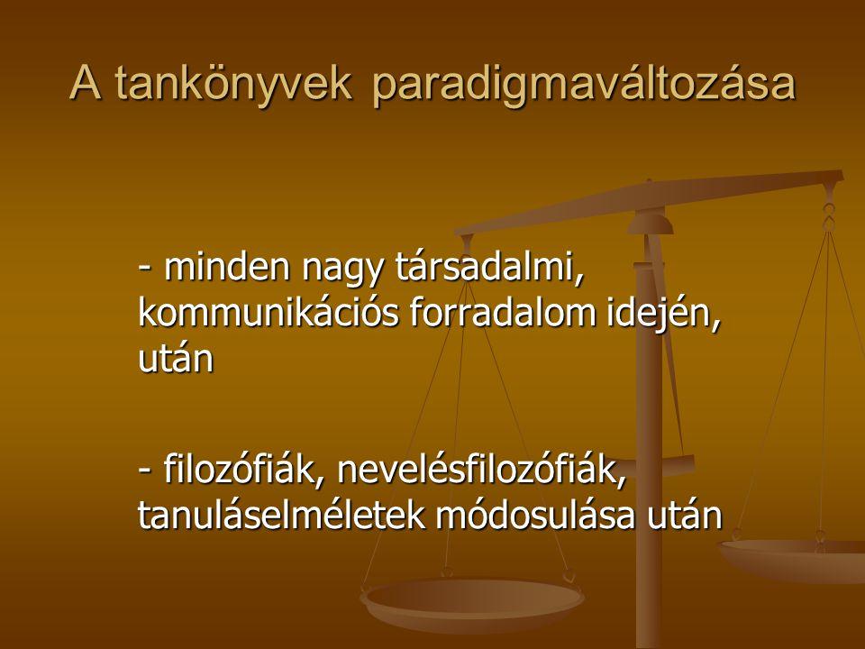 A tankönyvek paradigmaváltozása - minden nagy társadalmi, kommunikációs forradalom idején, után - filozófiák, nevelésfilozófiák, tanuláselméletek módosulása után