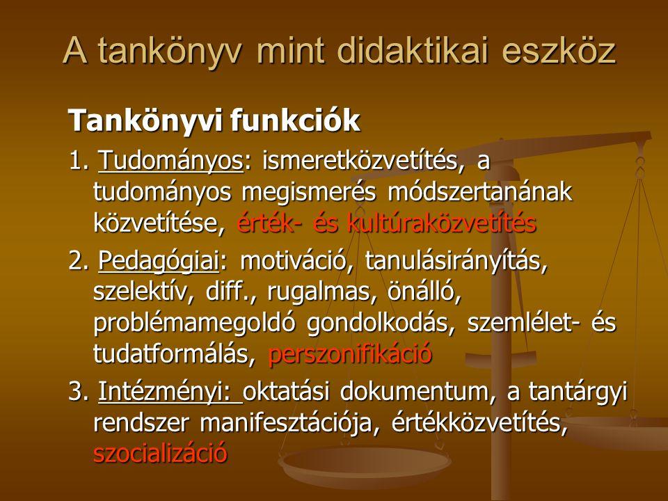 A tankönyv mint didaktikai eszköz A tankönyv mint didaktikai eszköz Tankönyvi funkciók 1. Tudományos: ismeretközvetítés, a tudományos megismerés módsz
