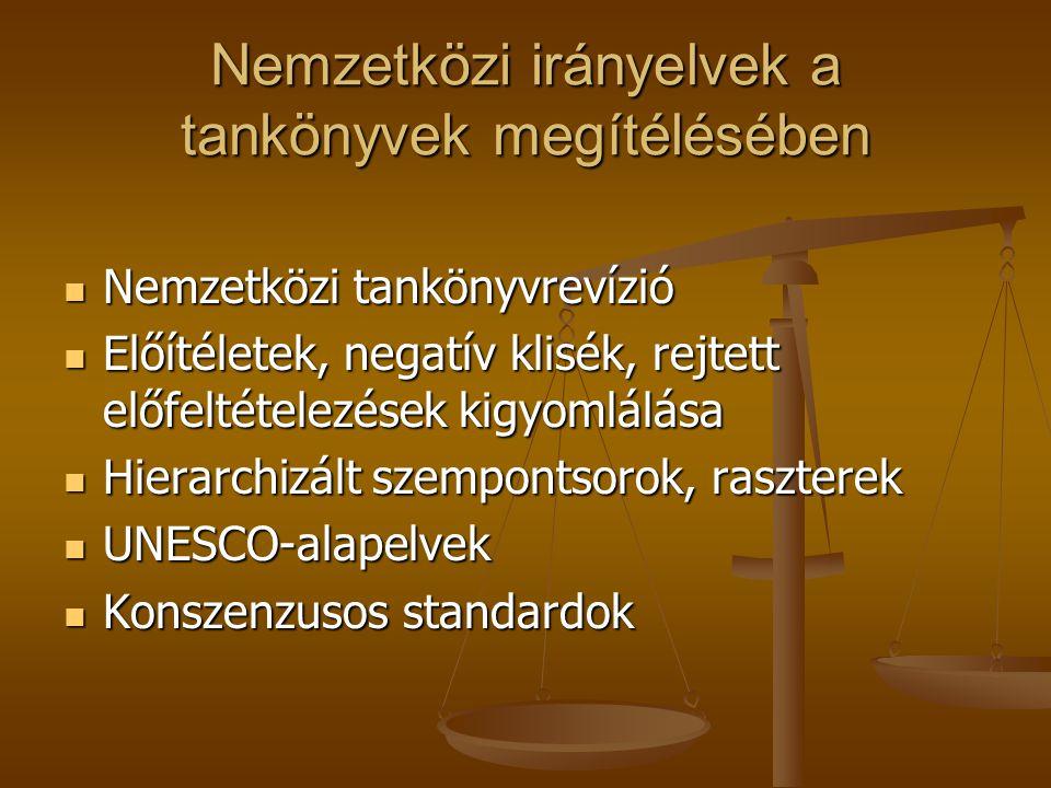 Nemzetközi irányelvek a tankönyvek megítélésében Nemzetközi tankönyvrevízió Nemzetközi tankönyvrevízió Előítéletek, negatív klisék, rejtett előfeltételezések kigyomlálása Előítéletek, negatív klisék, rejtett előfeltételezések kigyomlálása Hierarchizált szempontsorok, raszterek Hierarchizált szempontsorok, raszterek UNESCO-alapelvek UNESCO-alapelvek Konszenzusos standardok Konszenzusos standardok