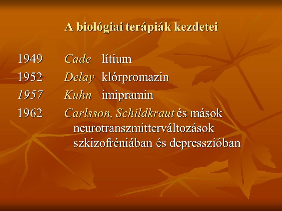 A biológiai terápiák kezdetei 1949 Cadelítium 1952 Delayklórpromazin 1957 Kuhnimipramin 1962 Carlsson, Schildkraut és mások neurotranszmitterváltozáso