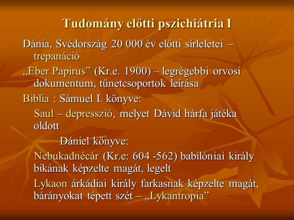 """Tudomány előtti pszichiátria I Dánia, Svédország 20 000 év előtti sírleletei – trepanáció """"Eber Papirus"""" (Kr.e. 1900) – legrégebbi orvosi dokumentum,"""
