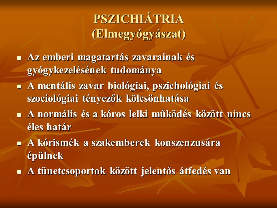 PSZICHIÁTRIA (Elmegyógyászat) Az emberi magatartás zavarainak és gyógykezelésének tudománya Az emberi magatartás zavarainak és gyógykezelésének tudomá