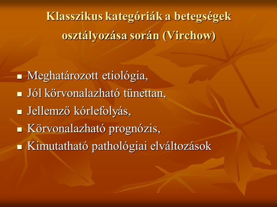 Klasszikus kategóriák a betegségek osztályozása során (Virchow) Meghatározott etiológia, Meghatározott etiológia, Jól körvonalazható tünettan, Jól kör
