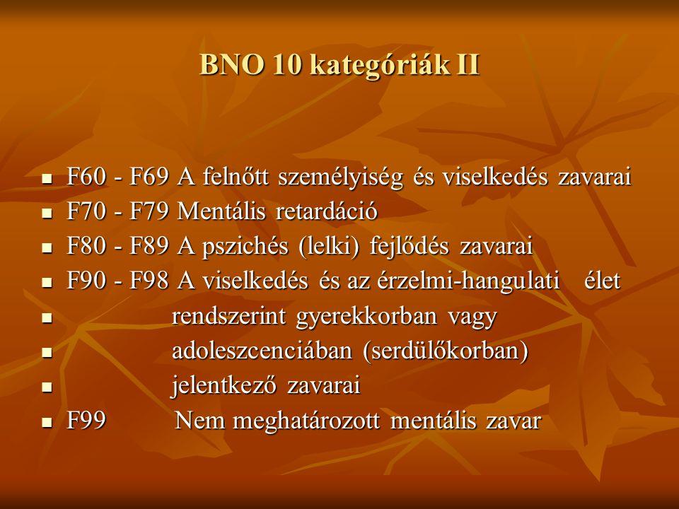 BNO 10 kategóriák II F60 - F69A felnőtt személyiség és viselkedés zavarai F60 - F69A felnőtt személyiség és viselkedés zavarai F70 - F79Mentális retar