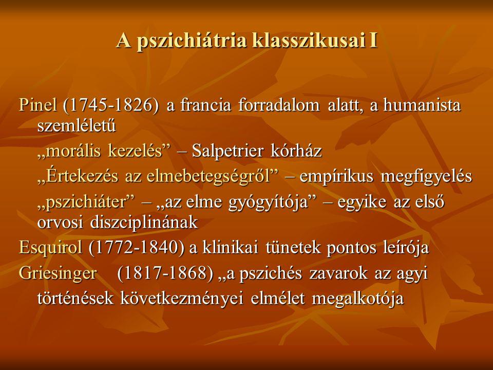"""A pszichiátria klasszikusai I Pinel (1745-1826)a francia forradalom alatt, a humanista szemléletű """"morális kezelés"""" – Salpetrier kórház """"Értekezés az"""