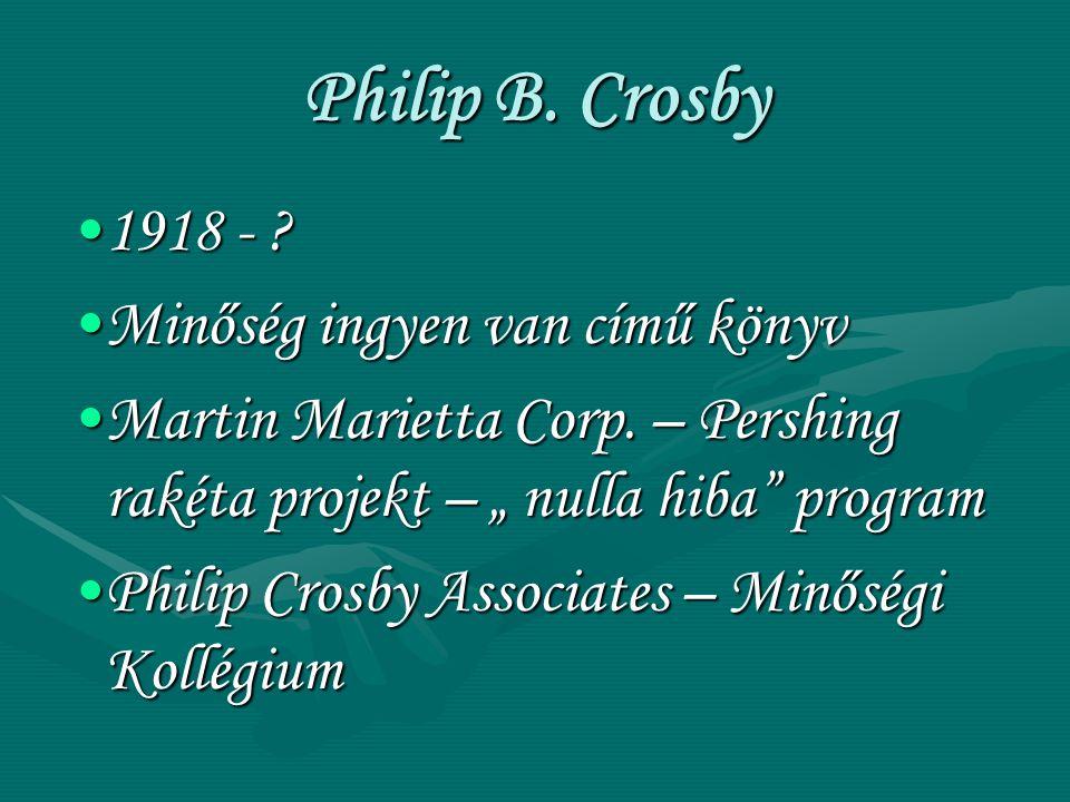 """Philip B. Crosby 1918 - ?1918 - ? Minőség ingyen van című könyvMinőség ingyen van című könyv Martin Marietta Corp. – Pershing rakéta projekt – """" nulla"""