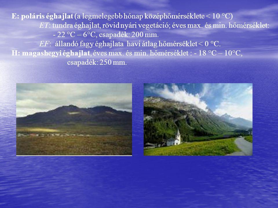 E: poláris éghajlat (a legmelegebb hónap középhőmérséklete < 10 °C) ET: tundra éghajlat, rövid nyári vegetáció; éves max. és min. hőmérséklet: - 22 °C