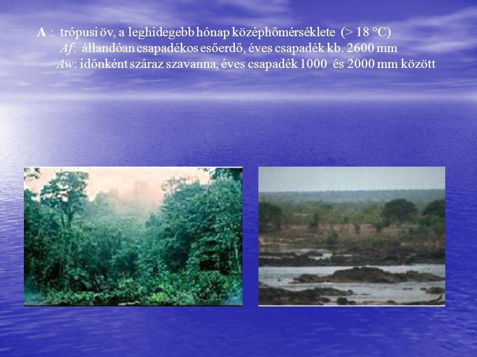 A : trópusi öv, a leghidegebb hónap középhőmérséklete (> 18 °C) Af: állandóan csapadékos esőerdő, éves csapadék kb.