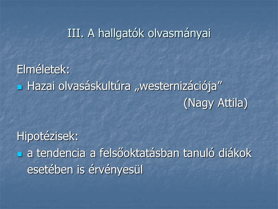 """III. A hallgatók olvasmányai Elméletek: Hazai olvasáskultúra """"westernizációja"""" Hazai olvasáskultúra """"westernizációja"""" (Nagy Attila) Hipotézisek: a ten"""