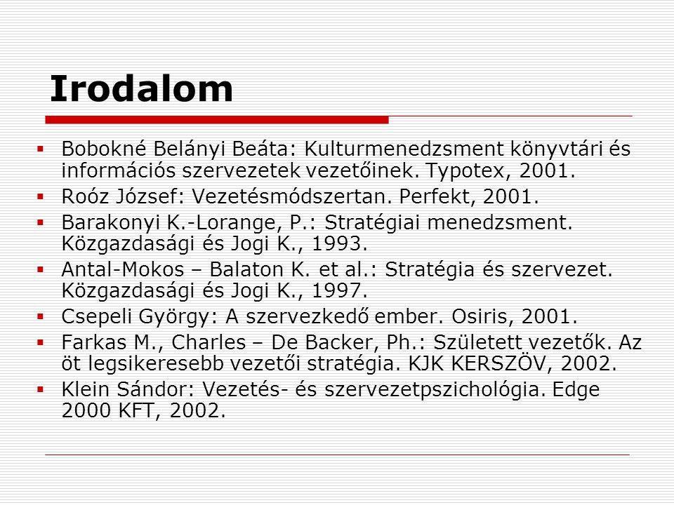 Irodalom  Bobokné Belányi Beáta: Kulturmenedzsment könyvtári és információs szervezetek vezetőinek. Typotex, 2001.  Roóz József: Vezetésmódszertan.