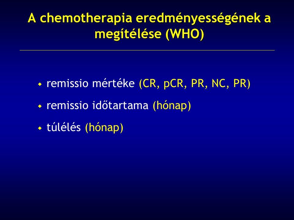  remissio mértéke (CR, pCR, PR, NC, PR)  remissio időtartama (hónap)  túlélés (hónap) A chemotherapia eredményességének a megítélése (WHO)