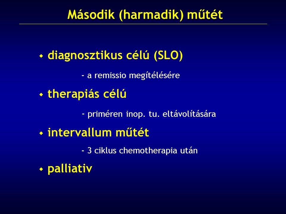  diagnosztikus célú (SLO) - a remissio megítélésére  therapiás célú - priméren inop. tu. eltávolítására  intervallum műtét - 3 ciklus chemotherapia
