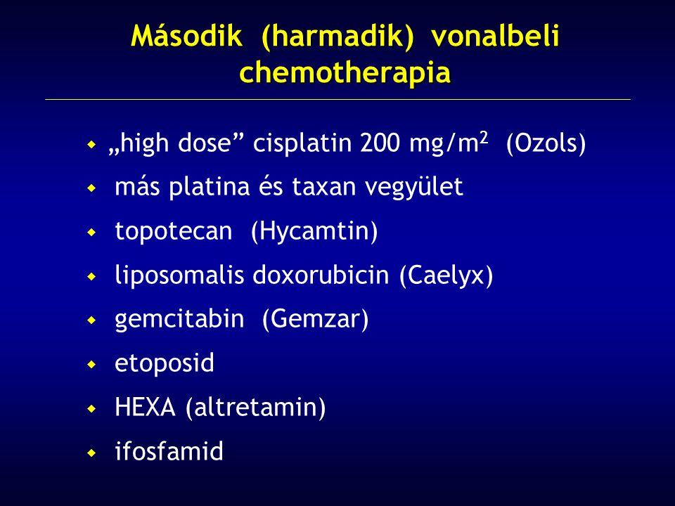" ""high dose cisplatin 200 mg/m 2 (Ozols)  más platina és taxan vegyület  topotecan (Hycamtin)  liposomalis doxorubicin (Caelyx)  gemcitabin (Gemzar)  etoposid  HEXA (altretamin)  ifosfamid Második (harmadik) vonalbeli chemotherapia"