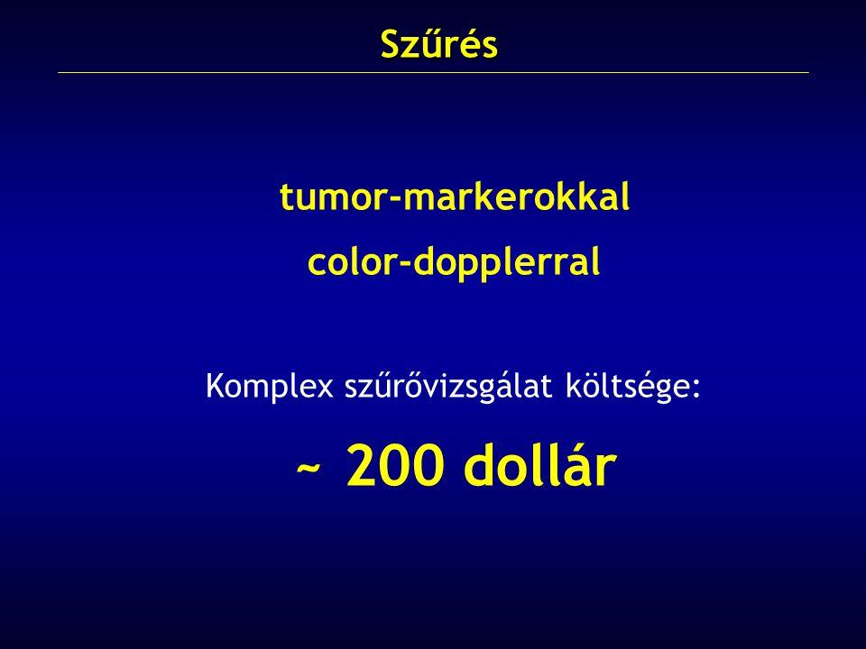 tumor-markerokkal color-dopplerral Komplex szűrővizsgálat költsége: ~ 200 dollárSzűrés