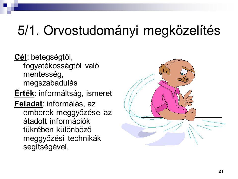 21 5/1. Orvostudományi megközelítés Cél: betegségtől, fogyatékosságtól való mentesség, megszabadulás Érték: informáltság, ismeret Feladat: informálás,