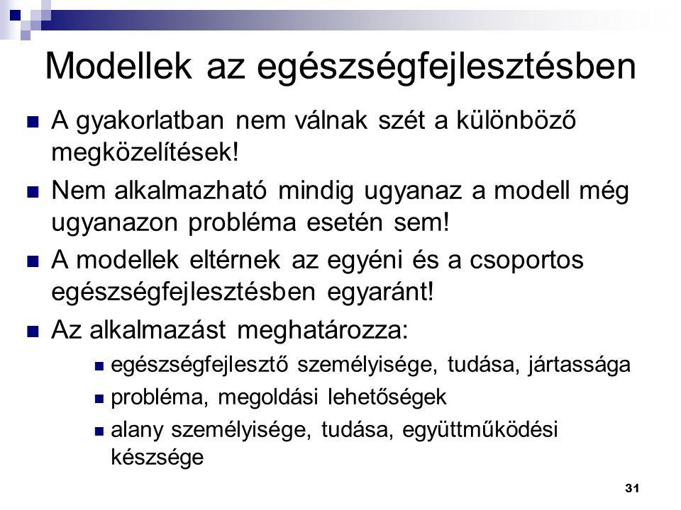 31 Modellek az egészségfejlesztésben A gyakorlatban nem válnak szét a különböző megközelítések! Nem alkalmazható mindig ugyanaz a modell még ugyanazon