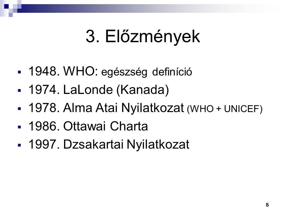 5 3. Előzmények  1948. WHO: egészség definíció  1974. LaLonde (Kanada)  1978. Alma Atai Nyilatkozat (WHO + UNICEF)  1986. Ottawai Charta  1997. D