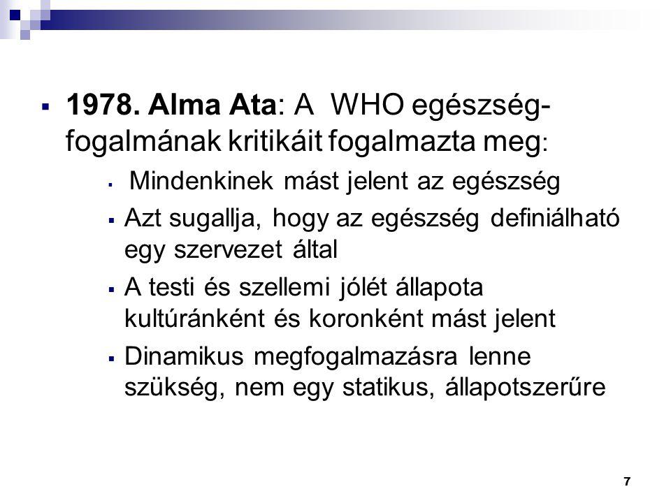 7  1978. Alma Ata: A WHO egészség- fogalmának kritikáit fogalmazta meg :  Mindenkinek mást jelent az egészség  Azt sugallja, hogy az egészség defin