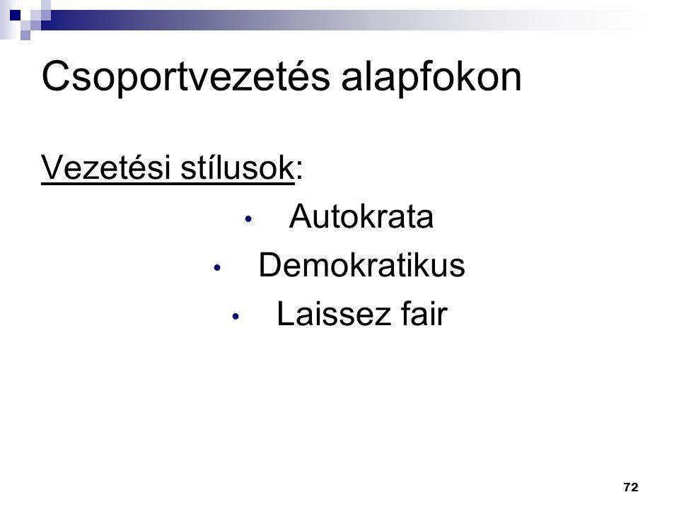 72 Csoportvezetés alapfokon Vezetési stílusok: Autokrata Demokratikus Laissez fair