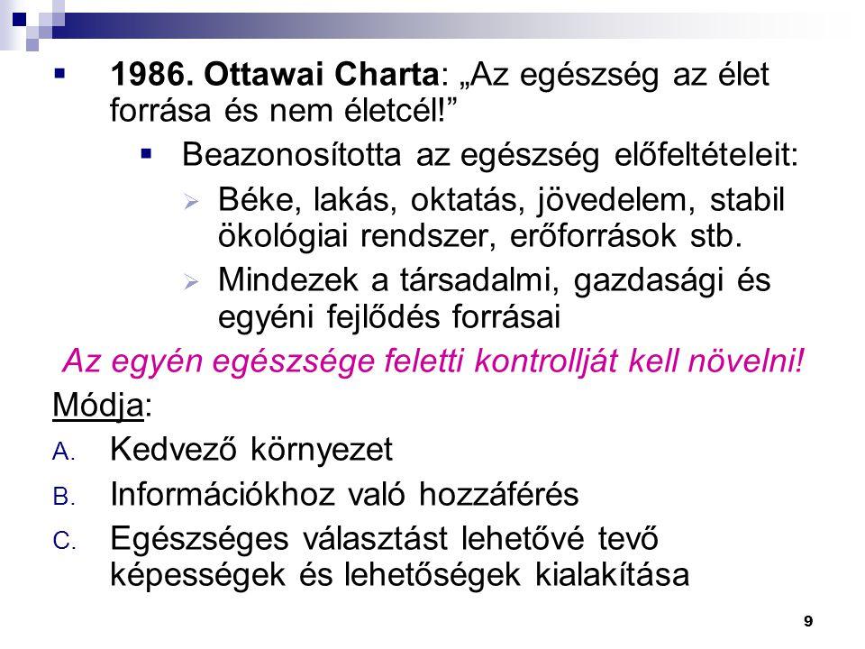 """9  1986. Ottawai Charta: """"Az egészség az élet forrása és nem életcél!""""  Beazonosította az egészség előfeltételeit:  Béke, lakás, oktatás, jövedelem"""