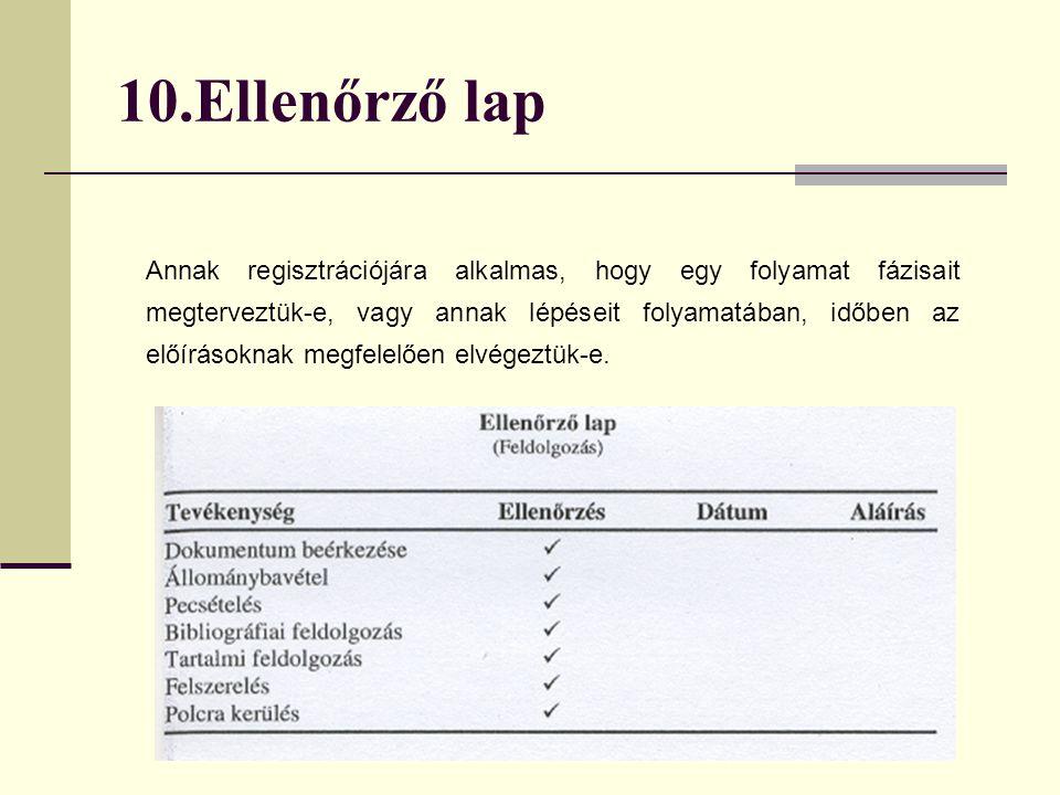 10.Ellenőrző lap Annak regisztrációjára alkalmas, hogy egy folyamat fázisait megterveztük-e, vagy annak lépéseit folyamatában, időben az előírásoknak