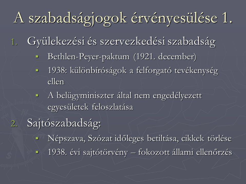 A szabadságjogok érvényesülése 1. 1. Gyülekezési és szervezkedési szabadság  Bethlen-Peyer-paktum (1921. december)  1938: különbíróságok a felforgat
