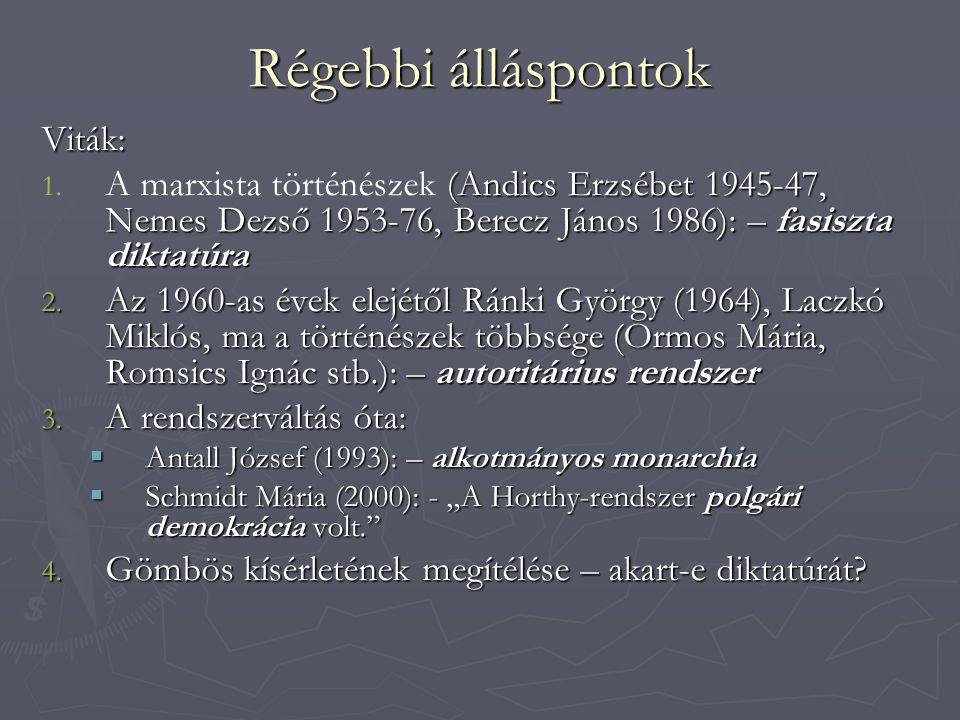 Régebbi álláspontok Viták: 1. (Andics Erzsébet 1945-47, Nemes Dezső 1953-76, Berecz János 1986): – fasiszta diktatúra 1. A marxista történészek (Andic