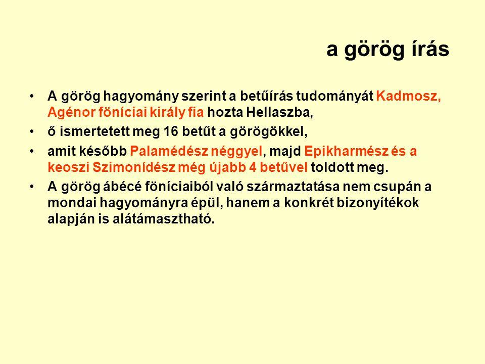 a görög írás A görög hagyomány szerint a betűírás tudományát Kadmosz, Agénor föníciai király fia hozta Hellaszba, ő ismertetett meg 16 betűt a görögök