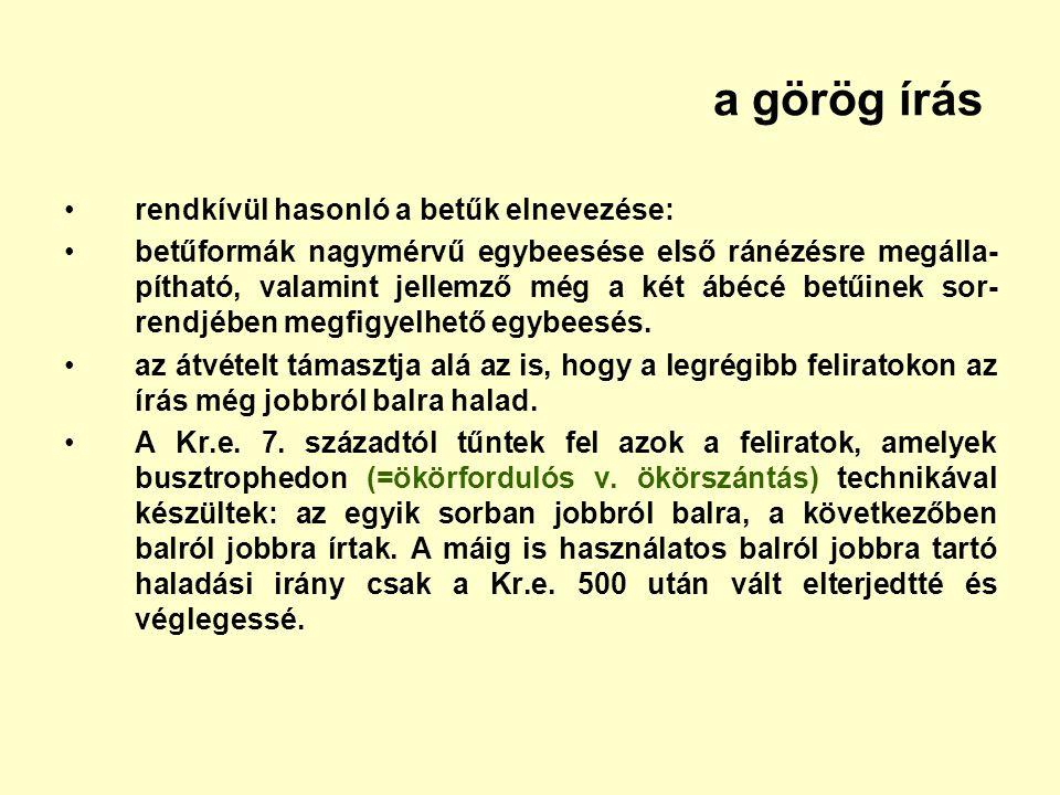 a görög írás rendkívül hasonló a betűk elnevezése: betűformák nagymérvű egybeesése első ránézésre megálla- pítható, valamint jellemző még a két ábécé