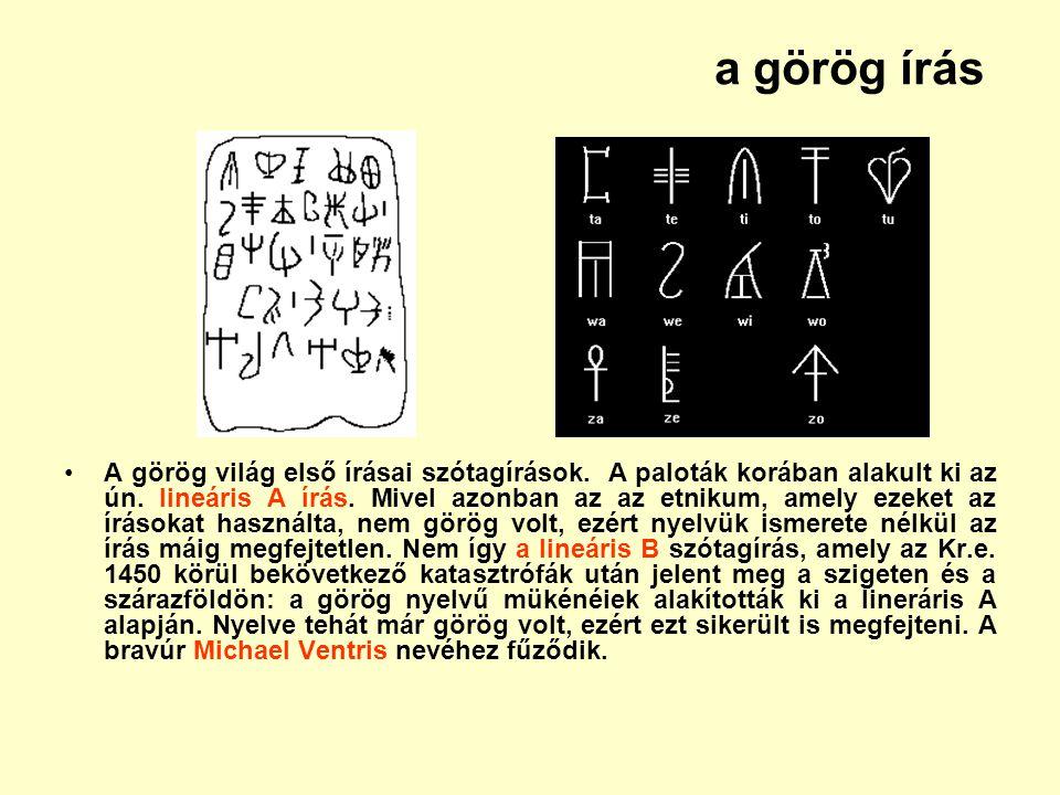 a görög írás A görög világ első írásai szótagírások. A paloták korában alakult ki az ún. lineáris A írás. Mivel azonban az az etnikum, amely ezeket az