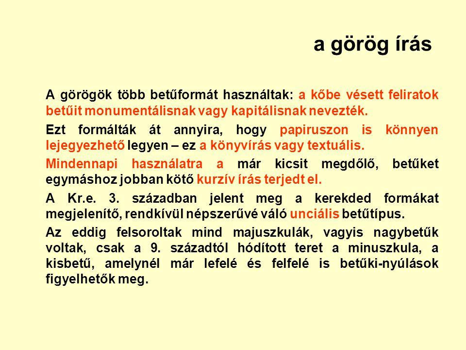 a görög írás A görögök több betűformát használtak: a kőbe vésett feliratok betűit monumentálisnak vagy kapitálisnak nevezték. Ezt formálták át annyira