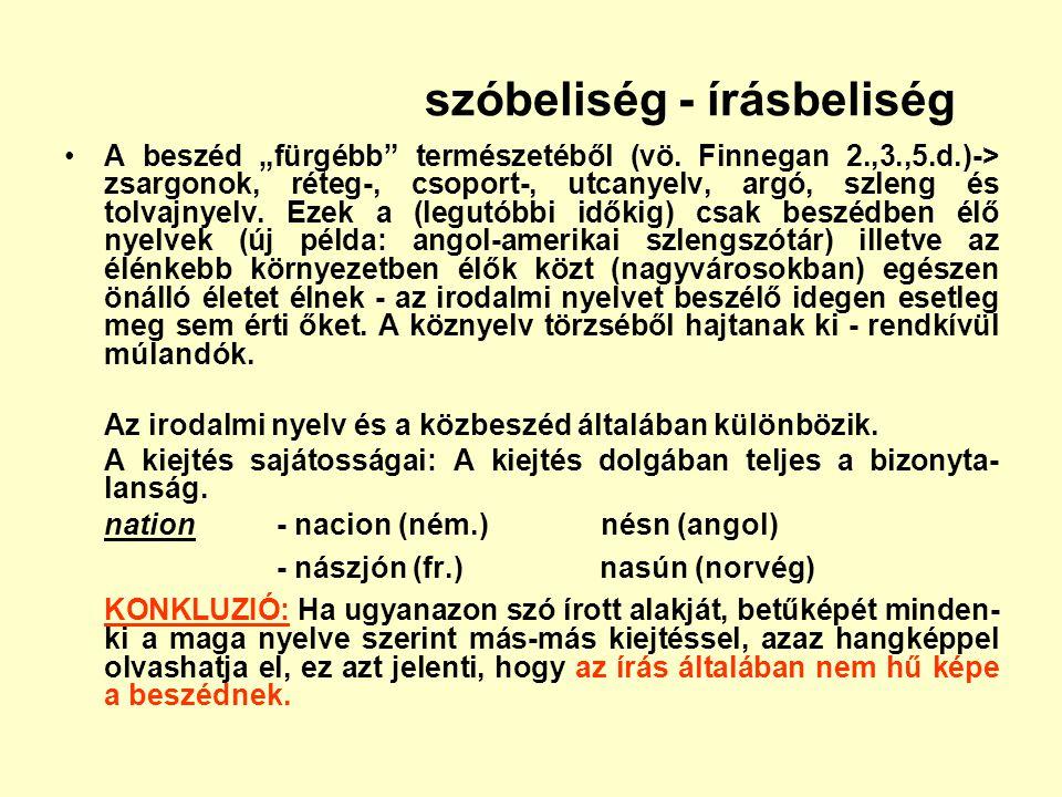 """szóbeliség - írásbeliség A beszéd """"fürgébb"""" természetéből (vö. Finnegan 2.,3.,5.d.)-> zsargonok, réteg-, csoport-, utcanyelv, argó, szleng és tolvajny"""