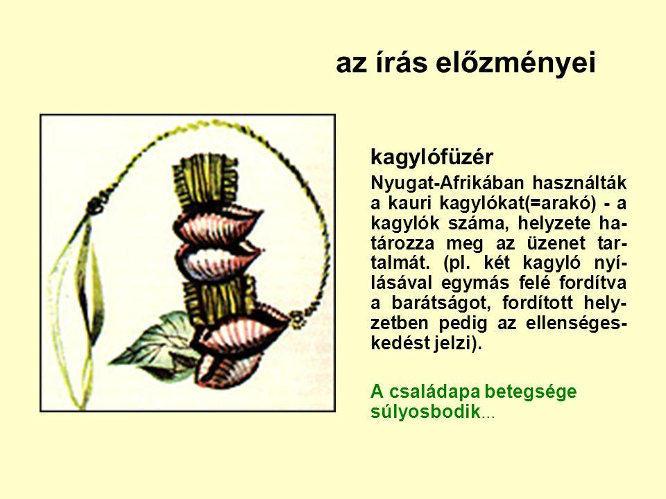 az írás előzményei kagylófüzér Nyugat-Afrikában használták a kauri kagylókat(=arakó) - a kagylók száma, helyzete ha- tározza meg az üzenet tar- talmát