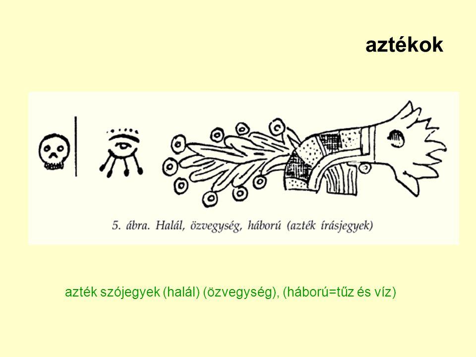 aztékok azték szójegyek (halál) (özvegység), (háború=tűz és víz)