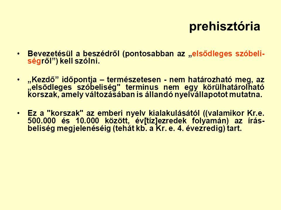 """prehisztória Bevezetésül a beszédről (pontosabban az """"elsődleges szóbeli- ségről"""") kell szólni. """"Kezdő"""" időpontja – természetesen - nem határozható me"""