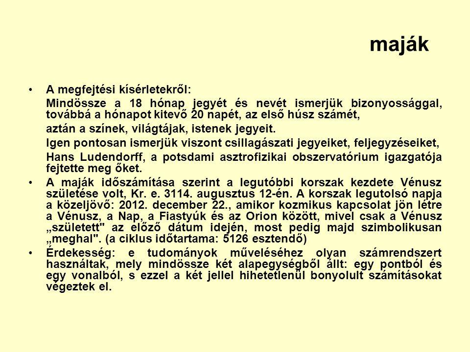 maják A megfejtési kísérletekről: Mindössze a 18 hónap jegyét és nevét ismerjük bizonyossággal, továbbá a hónapot kitevő 20 napét, az első húsz számét