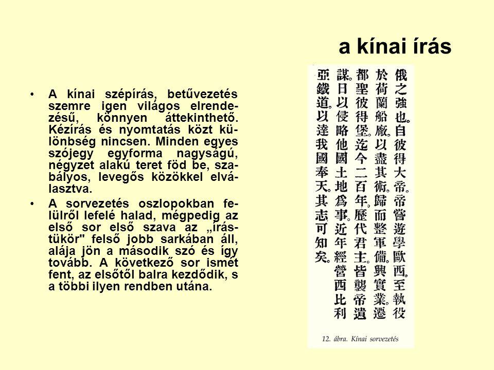 a kínai írás A kínai szépírás, betűvezetés szemre igen világos elrende- zésű, könnyen áttekinthető. Kézírás és nyomtatás közt kü- lönbség nincsen. Min