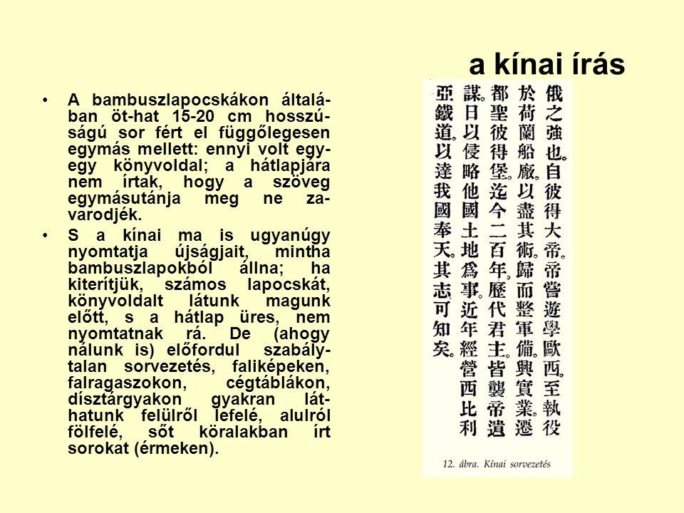 a kínai írás A bambuszlapocskákon általá- ban öt-hat 15-20 cm hosszú- ságú sor fért el függőlegesen egymás mellett: ennyi volt egy- egy könyvoldal; a