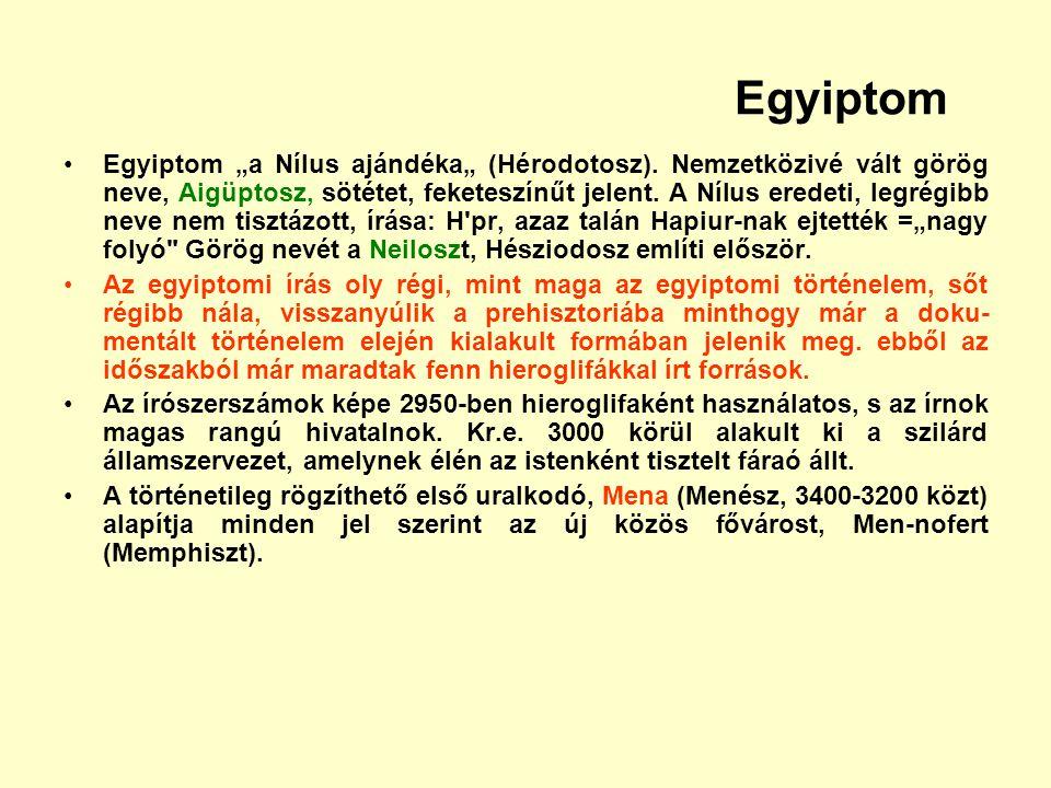 """Egyiptom Egyiptom """"a Nílus ajándéka"""" (Hérodotosz). Nemzetközivé vált görög neve, Aigüptosz, sötétet, feketeszínűt jelent. A Nílus eredeti, legrégibb n"""